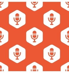 Orange hexagon microphone pattern vector