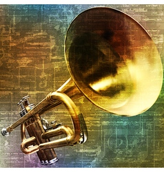 Abstract green music grunge background trumpet vector
