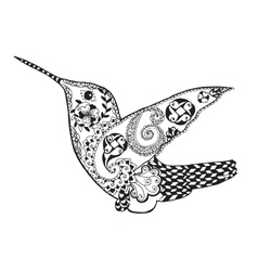 Zentangle stylized hummingbird sketch for tattoo vector