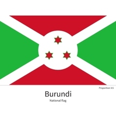 National flag of burundi with correct proportions vector
