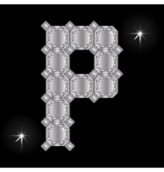 Metal letter p gemstone geometric shapes vector