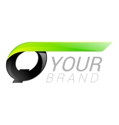 Q letter black and green logo design Fast speed vector image