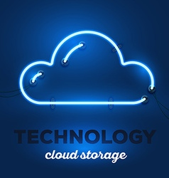 realistic neon cloud with wires and text vector image