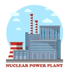Nuclear power plant with cooling tower and chimney vector