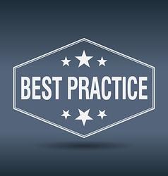 Best practice hexagonal white vintage retro style vector