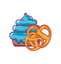 Cake dessert with pretzel sweet food vector