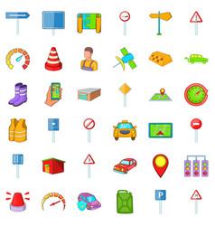 Car rent icons set cartoon style vector