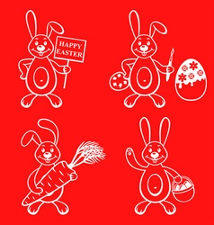 Cartoon bunny set vector
