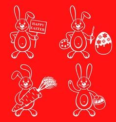 cartoon bunny set vector image vector image