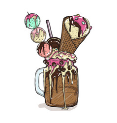 cartoon style milkshake with cookies chocolate vector image