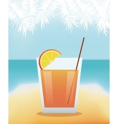 Cocktail lime alcohol with beach background vector