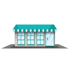 Coffee shop with blue roof vector