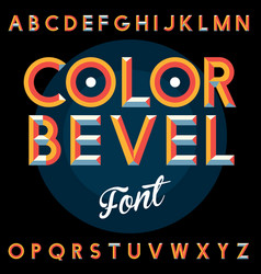Color bevel vintage font poster vector