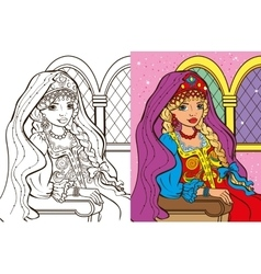 Colouring book of russian princess vector