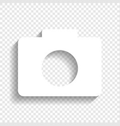 digital camera sign white icon with soft vector image vector image
