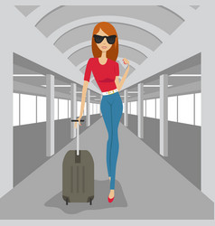 Fashion woman with suitcase walking in airport vector