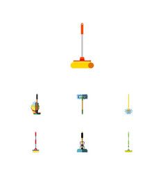 Flat icon mop set of broom equipment broomstick vector
