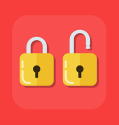 flat image of an open and closed padlock vector image