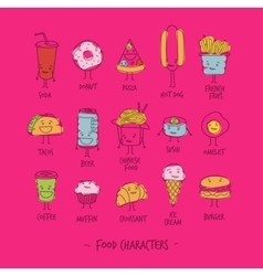 Food characters pink vector image vector image