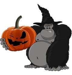 gorilla with a pumpkin vector image vector image