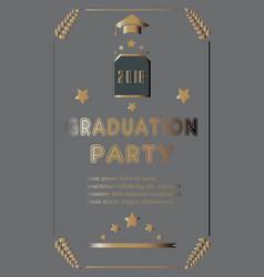 Graduation ceremony announcement rich golden vector