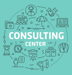 Green line flat circle consulting vector