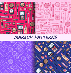 hand drawn makeup patterns set vector image vector image