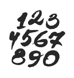 hand written calligraphy numbers vector image vector image