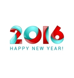 Happy new year 2016 text design blue and red vector image vector image