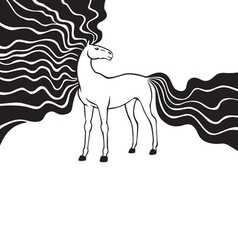 horse long mane vector image