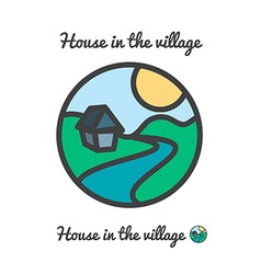 Icon logo of sunset in village sun house and river vector