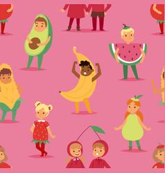 kids children party fruits costume cartoon vector image