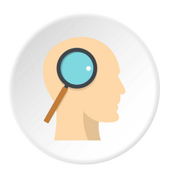 Profile of the head with magnifying glass icon vector