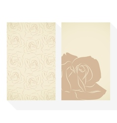Retro business cards set with silhouette roses vector