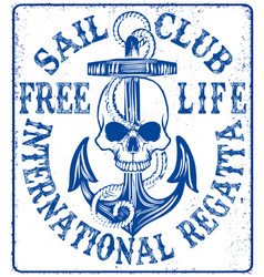 Sailing club logo with anchor vector