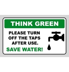 Save water sign vector image