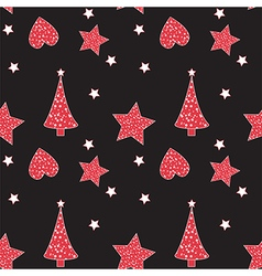 Seamless pattern with christmas tree heart star vector
