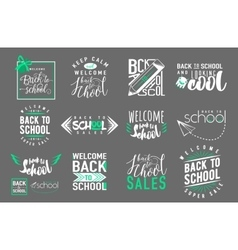 Set of back to school sale retro style vector image vector image