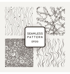 Set of seamless patterns curves with beads vector image