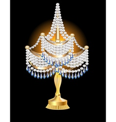 table lamp with crystal pendants vector image