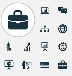 Trade icons set collection of earth hierarchy vector
