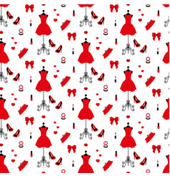 vintage mannequin in a red dress high heels vector image