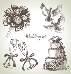 Wedding set hand drawn vector image vector image