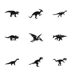 Wild dinosaur icons set simple style vector