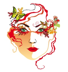 womans face red vector image