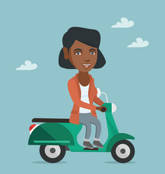 Young african-american woman riding a scooter vector