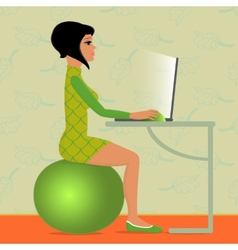 Young woman sitting on fitness ball vector
