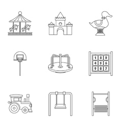Baby swing icons set outline style vector