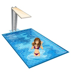A girl with her violet bikini at the swimming pool vector