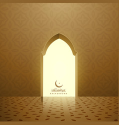 Golden mosque interior with door vector